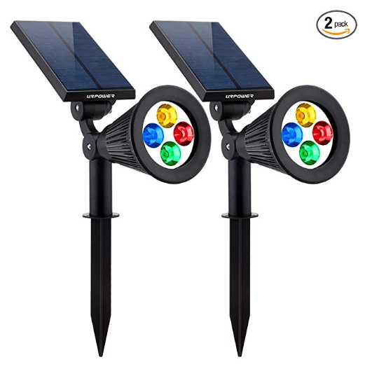 Best solar powered christmas lights, Solar Powered 4 LED Adjustable Spotlight